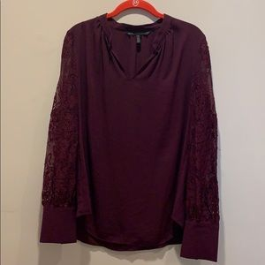WHBM size 8 burgundy long lace sleeves top